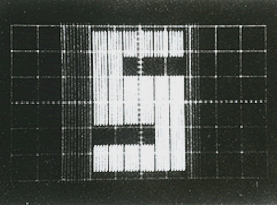 "A 64 px CCD projection of the letter ""S"" in 1972 (Photo Sony)"